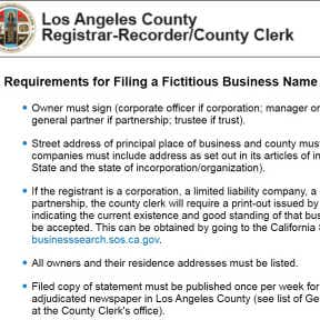 Check county specific requirements for filing an FBN.