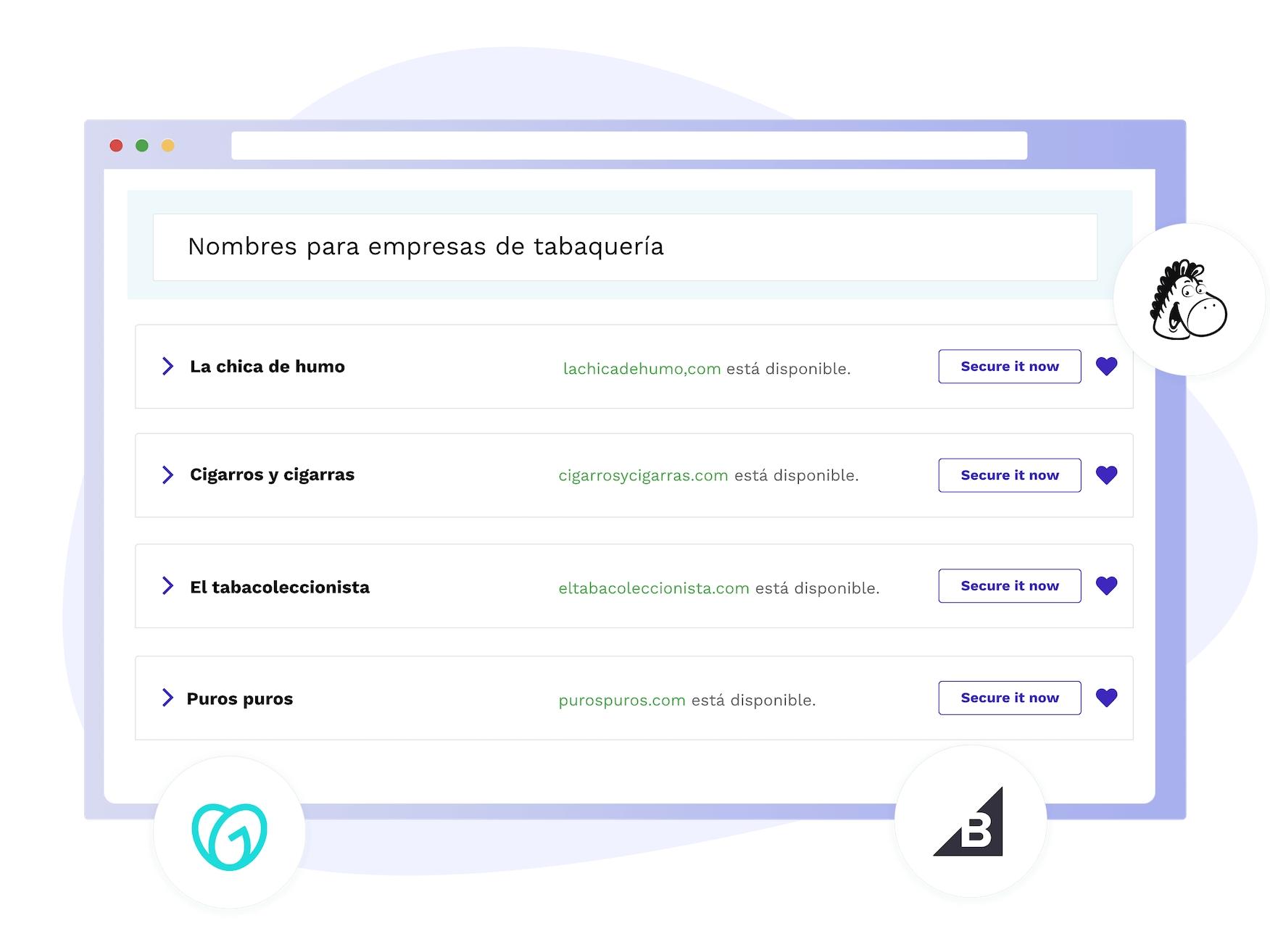 Screenshot del generatore di nomi per aziende