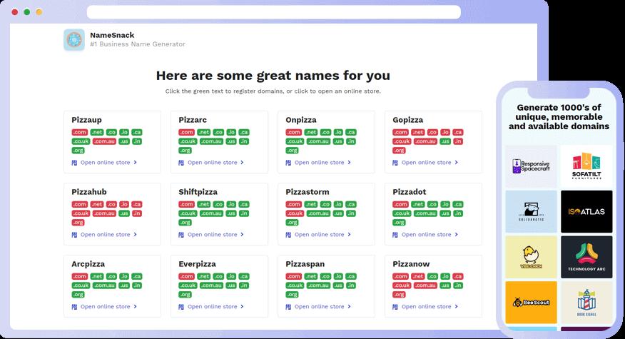 Namesnack Business Name Generator Screenshot